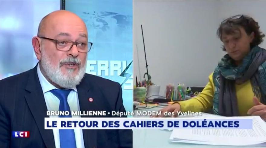 Cahiers de doléances en mairies, grand débat national : Bruno Millienne invité de Perri Scope sur LCI